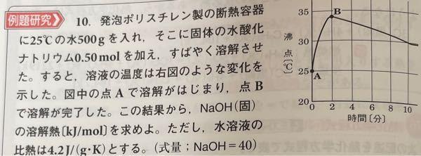 これの溶解熱の求め方なのですが、 Q=21840j 溶解熱 21840×1.0/0.50=43680j/mol 1.0は何の数字ですか?