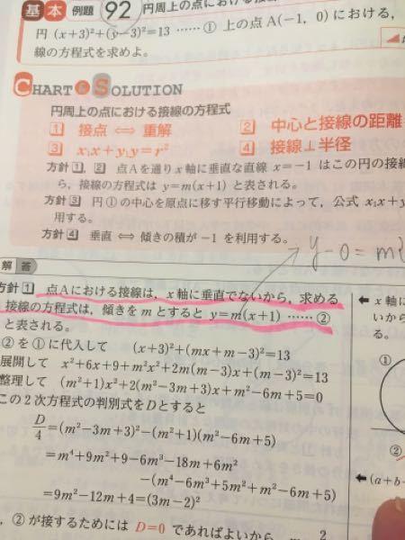 数学Ⅱ(円周上の点における接線)で 質問です。 「点Aにおける接線は…」とピンクのアンダーラインにはありますが y−0=m{x−(−1)} からきていると思います。何故その式になるのか、どの単元で既習したのか解説をよろしくお願いします。m(_ _)m