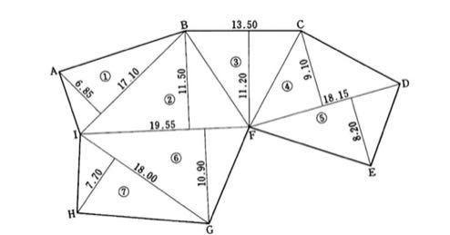 この問題の解き方を教えてください。 (1) 下記に示す多角形ABCDEFGHIの面積(m2)を求めよ。図中の長さの単位はmとする。小数第2位を四捨五入し、小数第1位まで求めること。