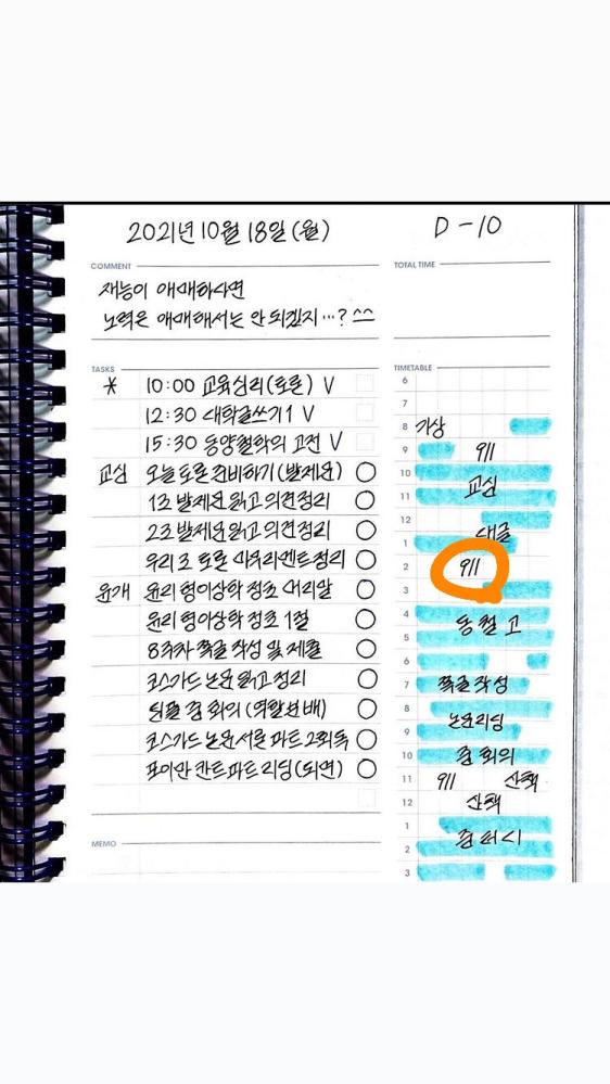 韓国人が書いてるスタディプランのなのですが、このオレンジ色の丸がついてるとこの記号?はなんですか