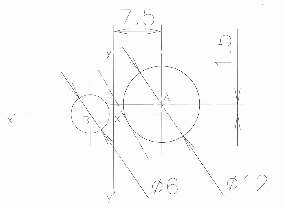2つの円と共通接線の作図 添付の図において、以下の条件を満たして小さい円Bを作図する方法はありますでしょうか? 作図に当たってはAuto CAD LTの機能を使っても構いません。 ①共通接線は...