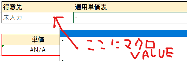 INDIRECTで指定したプルダウンリストについて。 画像の得意先の下のセル(仮にA2とする)に ダブルクリックイベントで、得意先名をターゲットとして.valueで転記する マクロをつたないな...