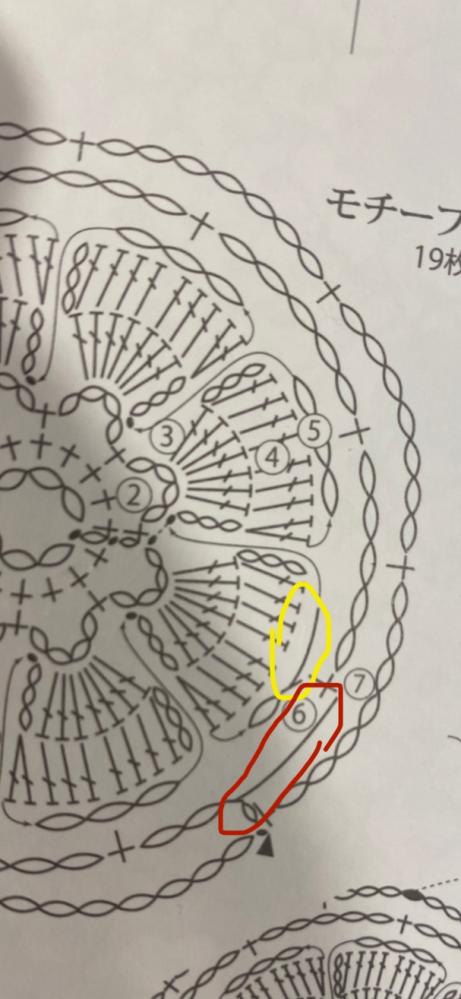 この黄色と赤丸の編み図記号は何でしょうか…? 斜めになっているだけで 中長編みの記号なのでしょうか( ; ; )