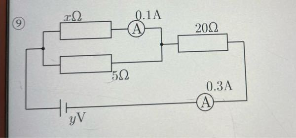 このxとyの求め方を教えてください! ・物理・中2・電気