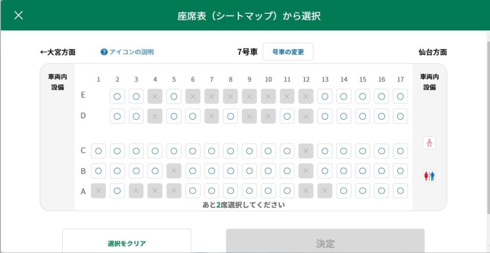 新幹線座席について 画像がうまく乗せれているかわかりませんが、画像のように1列目が空白の場合仙台→大宮の際に1列目が荷物置き場なのでしょうか? 荷物置き場だったら何か仕切りなどあるんですか? 無ければ単純に2人席の2列目の人がしんどくないかと思いまして