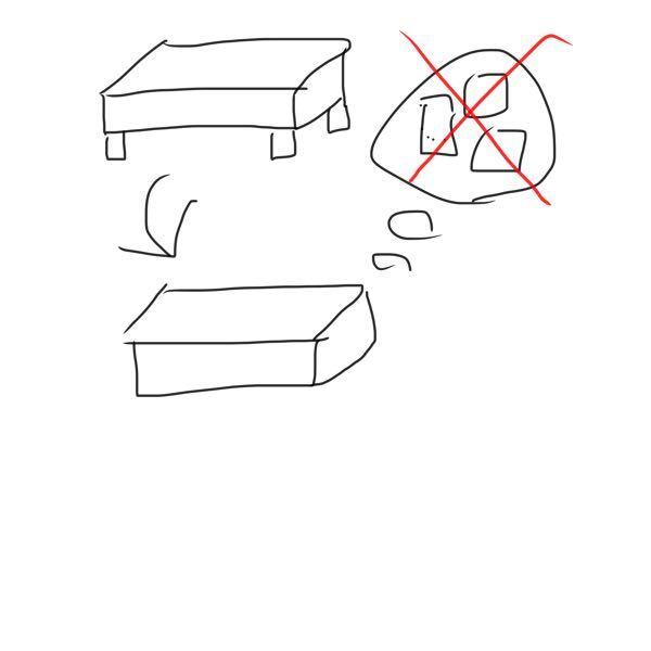 ベッドの足を取り外し、フレーム部分が地面に着くようにした時に、マットレスがカビる可能性はありますか? フレームの高さはは約15cmあります。 へたな絵ですみません この絵のフレームの上にマットレスを置く感じです