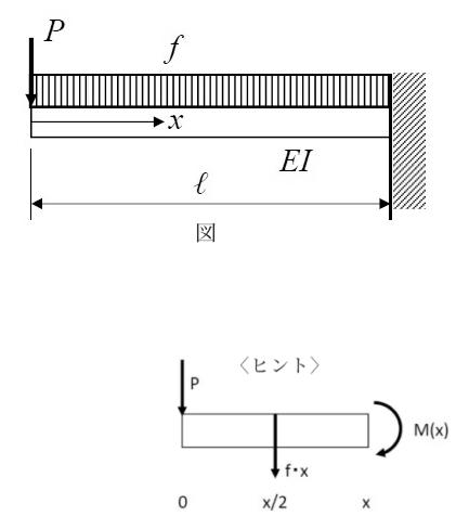 この材料力学の問題を教えて下さい 図において、自由端(左端)におけるたわみを求めなさい。 <ヒント> 区間分けは不要です。 X=0~ℓにおいて、内力のモーメントM(x)は下図から得られます。 ...