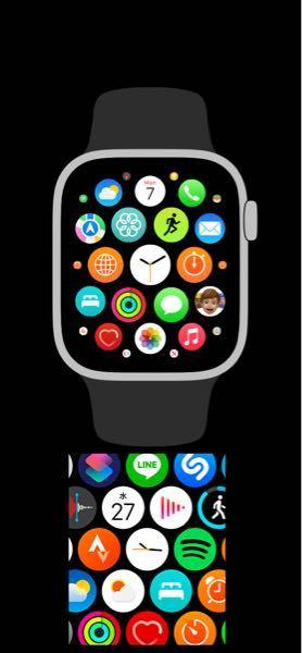 Applewatch のapp配置 どうすれば公式の配置にできますか。 現在、写真下の配置です。