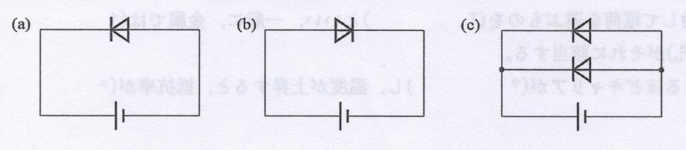 図(a)〜(c)において、回路に電流が流れるのはどれか。 解説をお願いします。