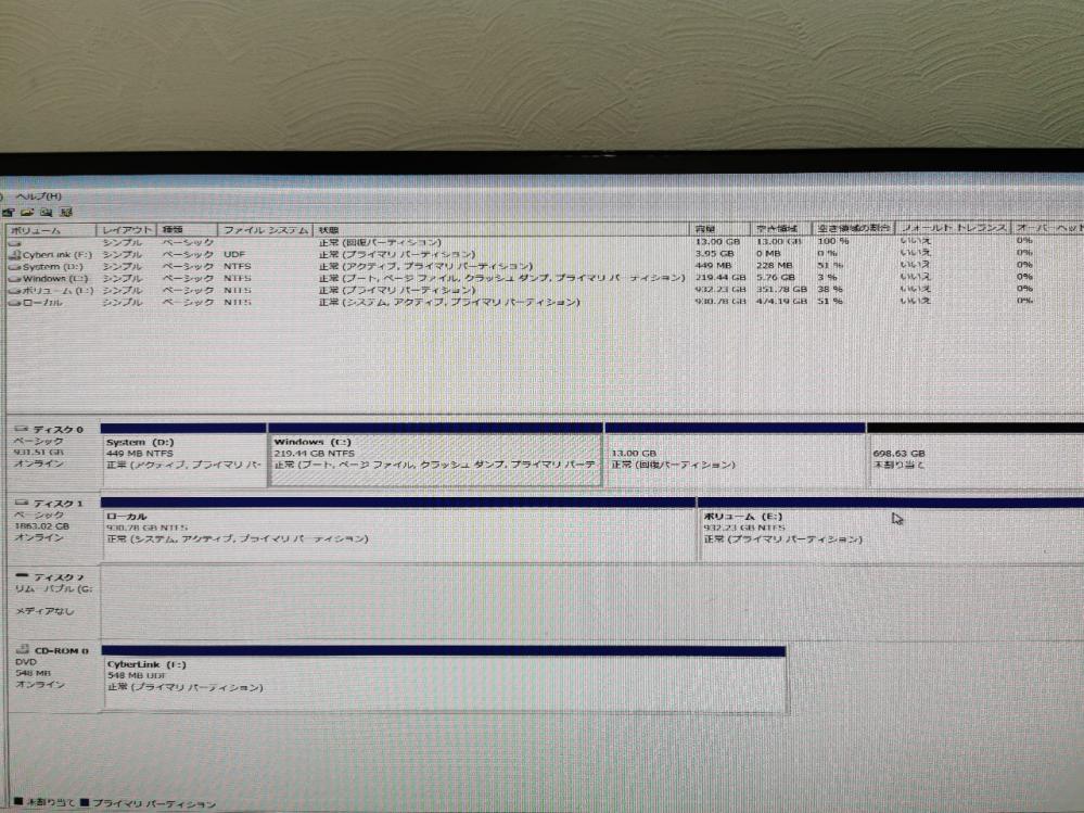 Win7 64bit BTOデスクです。 250GのSSDの容量がいっぱいになって来た為、1TのSSDにクローンコピーしました。 すべての手順を終えてマイコンピュータを確認すと、Cドライブ219G、13G回復パテーション、698G未割り当てと区分分けされてます。 なぜ1つにまとまってないのでしょうか? よろしくお願いします。
