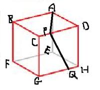 直角になる?ならない? 図のような立方体ABCD-EFGHがあります。 辺CD上に点P、辺GH上に点Qをとり、AとP、PとQを結ぶ。 この時、角APQは直角になりますか? 面ABCD⊥DCGHなので・・・。直角になるのではないかと思ったのですが