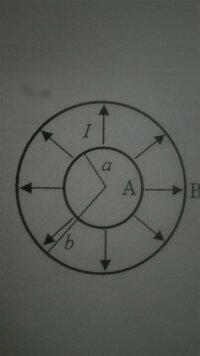 電磁気学の問題で、球殻の電気抵抗、ジュール熱の問題が分かりません。 問、 半径a,bの同心の導体球殻A,Bがあり、両球殻にはさまれた空間が電気伝導率σの電解質溶液で満たされている。A,Bをそれぞれ正負の電極として電流を流したとき、以下の問に答えよ。 (1)このときの電気抵抗を求めよ。 (2)A,B間を流れる定常電流がIのとき、電解質溶液に単位時間当たり発生するジュール熱を求めよ。 ...