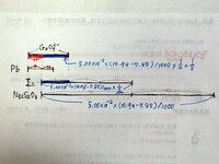 合金中の鉛との反応で消費したCr₂O₇²⁻が下の図の赤い部分と見て下さい。 私は、この赤い部分を2倍すると、合金中の鉛の物質量に等しくなると考えました。 5.00×10⁻²×(10.94-7.85)/1000×1/2×1/3 は、 青い部分に相等すると考えたので、 この部分を2倍して合金中の鉛の物質量に等しくなるというのが、 まだよくわかりません。お教えいただければ大変助かります。...