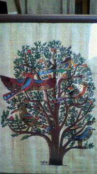 この絵のタイトル教えてください。 また意味もわかれば一緒にお願いします。  エジプトで購入したパピルスです。