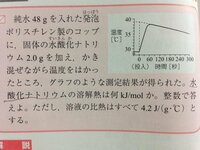 化学の「溶解熱」を求めるにあたり質問です。 問いでは「水酸化ナトリウム」の溶解熱を求めるように指示があります。  溶解熱の定義は「1molを多量の溶媒に溶かしたとき、発生または吸収する熱量」を指しますね。  計算では、  (4.2/1000)×(48.0+2.0)×(39-29)  より生じる熱量を算出して、  溶解した水酸化ナトリウムの物質量molで割って溶解熱を出して...