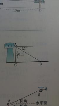 三角比の系統からの問題です。 地上からの高さ20mの地点Aで地上の場所Bを見下ろしたら、その角は図のように水平面に対して32゚であった。 場所Bは、地上Aの真下から何m離れているか。1m未満を四捨五入...