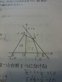 点Aを通り、四角形ABCDの面積を二等分する直線の式おしえていただきたいです!  軽く解説していただけると助かります。