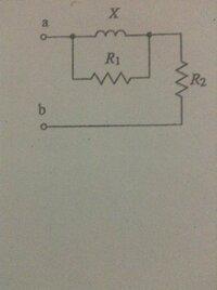 図のように、抵抗R1とリアクタンスXを並列に接続し、これに抵抗R2を直列に接続した回路がある。端子abに交流電圧を加えたところ、25Aの電流が流入した。この回路の全消費電力Pを求めてください。 ただし、R1=4Ω、X=3Ω、R2=2Ωとする。