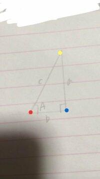 高1、数学です。 sinA,cosA,tanAとは、それぞれどこのこと(赤、青、黄)を言っているのですか?