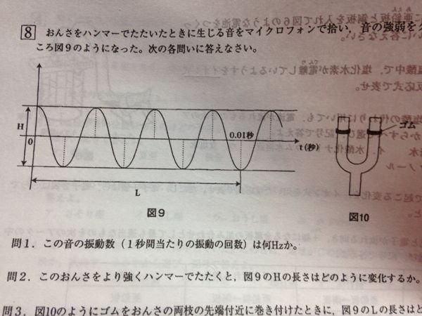 この理科問題のHzの求め方を教えて下さい!