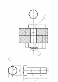 機械製図の課題に関して質問です。 添付画像の図番1,2のような、組み込まれた六角ボルトの製図なのですが これを手にて(コンパス,三角定規,直定規)製図する場合画像に記されている 寸法だけでは同じように製図できないですよね? 大学の製図の課題なのですが、課題が複数1つの用紙に印刷されておりそれを実寸大でケント紙に書き写すのですが、そのうち2つが画像の部番1,2,5のようなものです。 部...