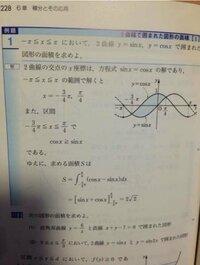 y=sinxとy=cosxの交点の求め方を教えてください。