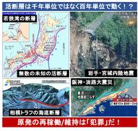活断層は「千年単位」ではなく「百年単位」で動く! 神城断層 2015/11/22 → 活断層の活動間隔は短くても千年以上と思われていたが、神城断層は3百年で動いていた! → 日本列島の内陸部には大小2000を超える活断層が存在している。 日本列島の地下は、主要98活断層帯に加えて、無数の未知の活断層だらけだ。  原発の直下数百mに活断層が存在していても、現在の人類の科学技術ではわ...
