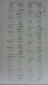 このオペラの曲名を教えてください。(手書き楽譜付き) ト音記号が歌の部分で、ヘ音記号は、頭で記憶しているオケの部分を再現しました。もしかしたらヘ音は1オクターブ高いかもしれません。楽 譜見にくくてごめ...