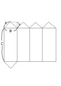 三角柱の作り方を教えてください...  ダンボールで三角柱を作りたいのですが どうしてもうまくいかなくて... 画像のA.B.C.Dをそれぞれ何センチにして切ればうまくいきますか...?  入れた いものは40×40×18...