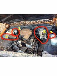 エンジンルーム詳しい方。 名前となにに使われているか教えてください。 シボレーかなんかのエンジンかと思います。1~4教えてください。