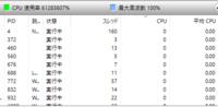 windows10 CPU使用率について。 使用環境:i5-2500(3.3[GHz]) メモリ8[GB],HDD2[TB]  CPU使用率が常に100%と表示され、リソースモニターの表示においては画像のように60000000%を超える異常な数値になっていま...