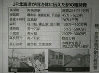 無人駅の維持管理費についての疑問です。  利用者の少ない無人駅の廃止を進めるJR北海道が、駅を自治体管理にして存続させる場合の 年間維持費として、45万~500万円をそれぞれの自治体に示 していたことが1日分かった。 最大で10倍以上の開きがあり、JRからこの差額について、明確な説明はないという。  「北海道新聞10月2日朝刊3面の記事を抜粋」  そこで質問なのですが、無人駅...