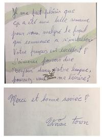 海外のホテルで置き手紙をいただきました。 恐らく清掃をしてくれた方だと思います。 ただ、恐らくフランス語で何を書いているのか、さっぱり分かりません。何方か訳していただけ無いでしょう か? この手紙を...