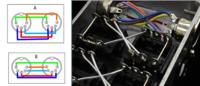 MIDIジャンクションボックスの配線についての質問です。 5pin DIN端子を使い、楽器用MIDIのジャンクションボックスの自作を考えています。 配線の資料としてNoar's Ark Thru Boxの写真を参考にすると、 恐らく図のAのような配線図になると思います。 鏡のように接点を向かい合わせた時に、なぜ図のBのように対面するピンに結線するのではなく、 振り分けた番号同士に結線...