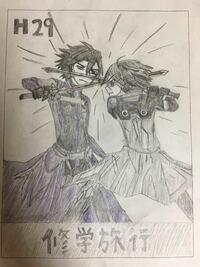 SAOのエイジとキリトの戦闘シーンを描きました。どうですか?エイジの顔がイマイチしっくり来ませんが。