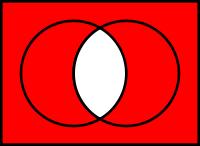 ワードでベン図の書き方が分かりません ベン図といっても、下のみたいな、2つの円とその重複部分、それを囲む四角の内側で塗り方を変えられるやつを教えてください