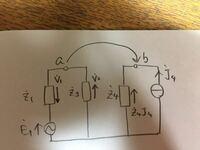 この開放電圧の求め方を教えて下さい。 V1とV2とZ4J4は自分で書き足しただけなので気にしないで下さい。