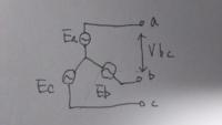 画像の三相交流回路で端子ab間の線間電圧は端子bを基準とするとVbcですが 中性点を基準とするとEa+Ebになるのはなぜでしょうか  aの電位は0+Ea(V) bの電位は0+Eb(V)  なので電圧=電位差より  ab間の電位差 = (0+Ea)+(0+Eb)   のベクトル和となる で合ってますでしょうか
