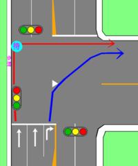 自転車で丁字路の二段階右折どうしています? 青のように右折すれば違反なので赤のように二段階右折すると思うのですが、車道上で停止すれば直進車両の迷惑になると思うんです。 二段階右折待 機場所があれば良...