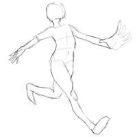 走っているポーズです。おかしいと思うところを教えてください。 女子の絵を描くつもりです。  デジタル 絵 イラスト ペンタブ 板タブ ワコム ファイアアルパカ デジ絵