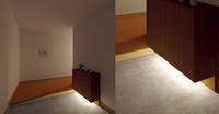 玄関の下足箱下に間接照明を取り付けたいのですが、現在ダウンライトと同時に点く様 にすることは、可能ですか? 下足箱下には、コンセントがありますが、やはり大掛かりな工事になりますか? 画像の様なイメー...