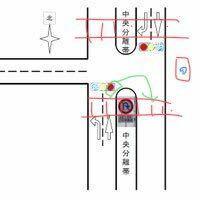 図のような丁字路で緑色の矢印で車がUターンし、歩行者と接触した場合過失はどちらにありますか? その車から見て正面の信号が赤で90度右の信号が青だった場合Uターンするのはありなのですか?
