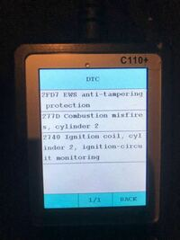 BMW E87でエンジン警告灯が点灯しました。 知人から定番の診断機C110を借りてチェックをしたのですが、画像のトラブルが診断されました。 内容がわかる方いますか?