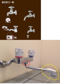2ハンドル混合栓の先端を変えることはできますか? 浴室の混合栓です。 留守中のあいだ、自動水やり機を使いたいのですが、 蛇口の形状が適合しません。 http://amzn.asia/0UxA7c0  使える水源はここしかあり...
