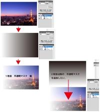 illustrator で配置した画像に 複数の不透明マスクをかける方法を教えて下さい。 ※Ver.CS5  1つのグラデーションレイヤーで配置画像の不透明マスクはでるのですが、 それ以降の追加がうまくできません。2つめの別方向のグラデーションレイヤーで不透明マスクを作成すると、1つめの不透明マスクが消えてしまいます。  添付写真は、質問用の参考です。      正しい...