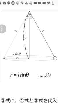 円錐振り子の問題です。糸の長さをl、角速度をw、重力加速度をg、としたとき支点から回転面までの距離hを計算するとh=g/w^2となるみたいです。(たぶん合ってるはず) この結果の解釈ですが、式を見ると角速度wが0...