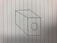ソリッドワークスで直方体の中に球の空洞を開けたいのですがどうやってやればいいですか? 汚いですが写真のような感じです。