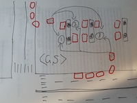 セルフ ガソリンスタンドの順番待ちの正しいルール  交差点の角にあるセルフのスタンドをよく使います。 (添付図) それぞれの道路で列をなして待っているとします。 (赤の印が車) 例えば①~③のスペース...