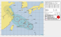 JTWCの台風情報の見方についてご教授ください。 JTWCからの台風14号の進路予報が更新されました。 この図を見ると12/18Zから極端に予報範囲が狭くなり、中心の赤丸マークが消えていますが、これは何を意味する...
