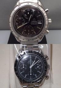 オメガ、スピードマスターについてです。 どちらもオメガスピードマスター、オートマチックです。上の時計と下の時計では、どちらの方が定価が高いのでしょうか。